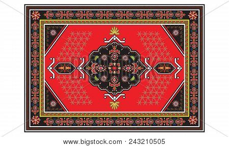 Persian Carpet With Tribal Geometrical Ornamental Decoration. Persian Rug Concept Illustrated Vector