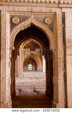View Of Arched Doorways And Arched Pillars At Jami Masid In Mandu, Madhya Pradesh, India, Asia