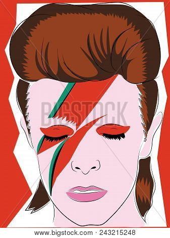 June 1 2018: Colored Portrait Print Illustration Of David Bowie With Foxy Hair And Makeup, Editorial