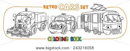 Funny taxi, sweeper car and tram. Small funny vector cute vehicles with eyes and mouth. Children vector illustration. Municipal cars machinery for kids poster