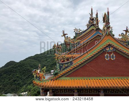 Decorations On The Roof Of A Buddhist Temple In Jioufen, Taiwan