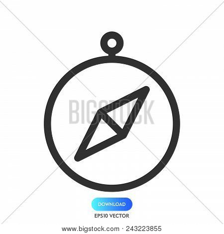 Compass Icon Simple Vector Sign Symbol. Compass Vector Icon Illustration, Isolated On White Backgrou