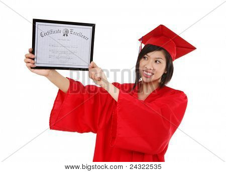 A pretty asian woman at graduation holding her degree