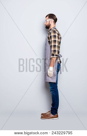 Full Size Body Snap, Half Face Side View Portrait Of Attractive Calm Carpenter With Hairstyle In Saf