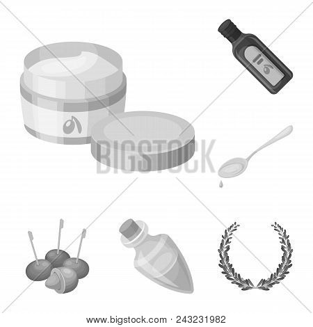 Olive, Food Monochrome Icons In Set Collection For Design. Olive Oil, Seasoning Vector Symbol Stock