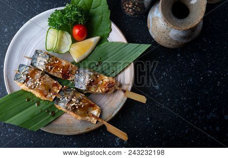 Skewer Grilled Saba Fish With Teriyaki Sauce.