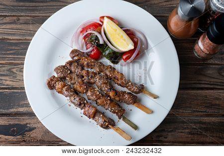 Skewer Grilled Beef Whit Seasoning In Muslim Style.