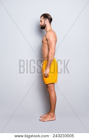 Side View Snap Full Size Fullbody Portrait Of Attractive Strong Lifeguard With Stubble, Modern Hairs
