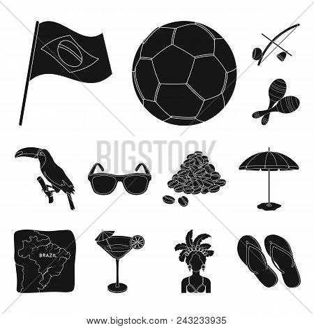 Country Brazil Black Icons In Set Collection For Design. Travel And Attractions Brazil Vector Symbol