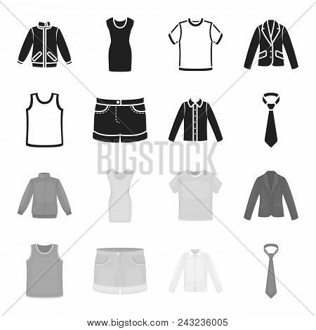 Shirt With Long Sleeves, Shorts, T-shirt, Tie.clothing Set Collection Icons In Black, Monochrome Sty