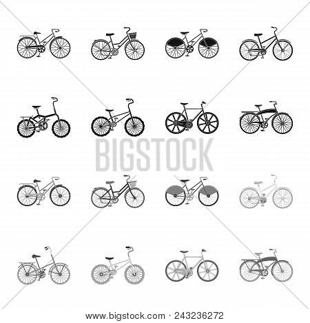 Children Bicycle And Other Kinds.different Bicycles Set Collection Icons In Black, Monochrome Style
