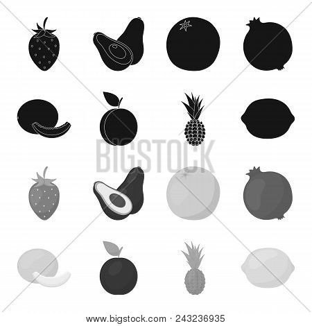 Melon, Plum, Pineapple, Lemon.fruits Set Collection Icons In Black, Monochrome Style Vector Symbol S