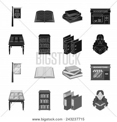 Library And Bookstore Black, Monochrome Icons In Set Collection For Design. Books And Furnishings Ve