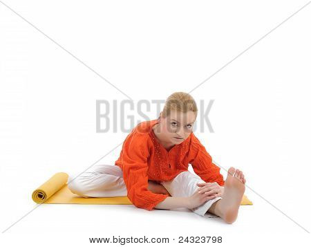 Series Or Yoga Photos. Young Woman Streching On Yellow Pilates Mat