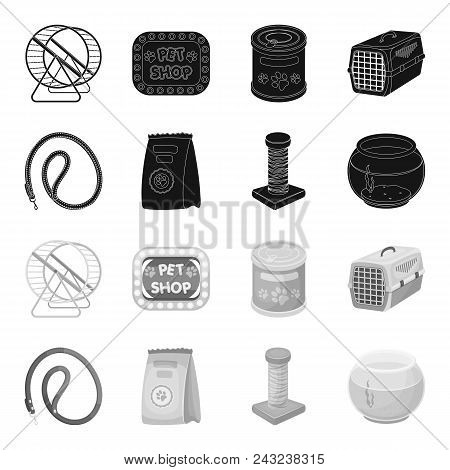 Leash, Feed And Other Zoo Store Products.pet Shop Set Collection Icons In Black, Monochrome Style Ve