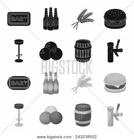 Restaurant, Cafe, Chair, Bowling Ball .pub Set Collection Icons In Black, Monochrome Style Vector Sy