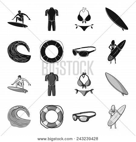 Oncoming Wave, Life Ring, Goggles, Girl Surfing. Surfing Set Collection Icons In Black, Monochrome S