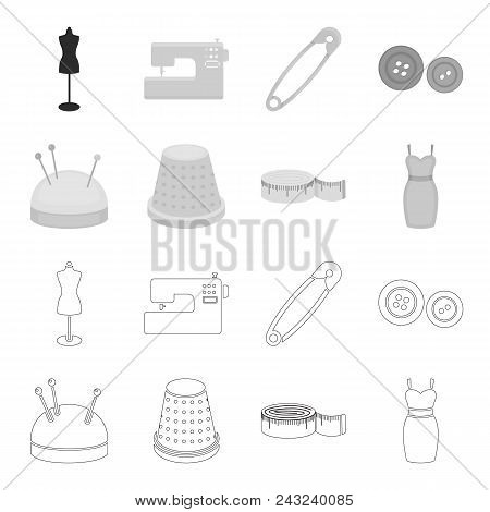 Pincushion With Pins, Thimble, Centimeter, Dress.atelier Set Collection Icons In Outline, Monochrome