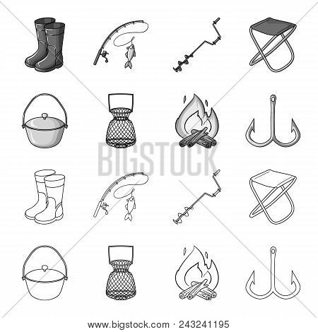 Catch, Hook, Mesh, Caster .fishing Set Collection Icons In Outline, Monochrome Style Vector Symbol S