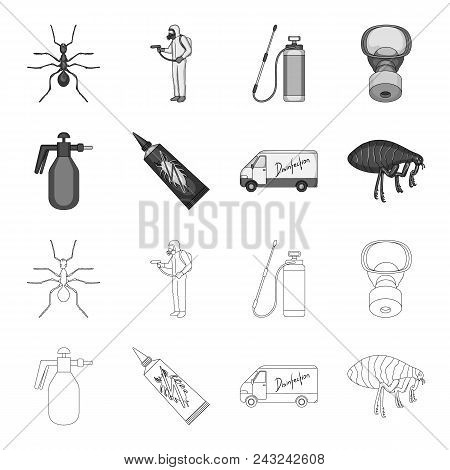 Flea, Special Car And Equipment Outline, Monochrome Icons In Set Collection For Design. Pest Control