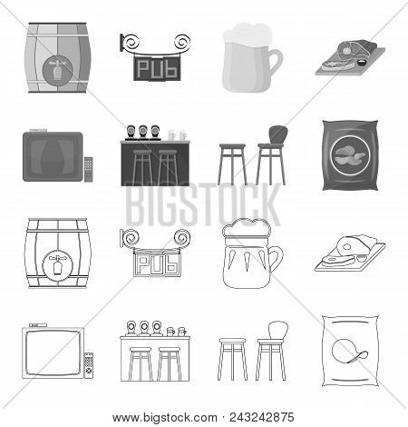 Tv, Bar Counter, Chairs And Armchairs, Potato Chips.pub Set Collection Icons In Outline, Monochrome