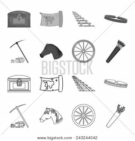 Pickax Hoe, Horse Head, Wheel Cart, Quiver With Arrows.wild West Set Collection Icons In Outline, Mo