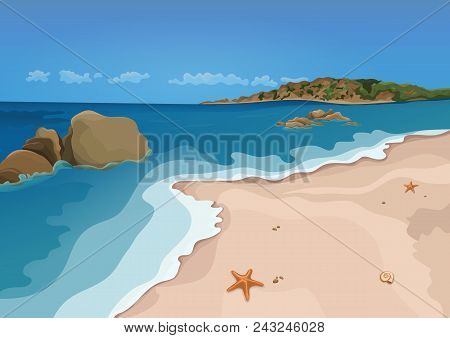 Sand Beach And Sea, Vector Colorful Graphic Drawing. Sandy Shore With Starfish And Seashells, Sea Wa