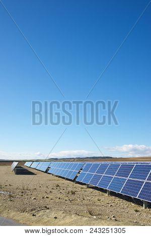 Photovoltaic panels for renewable electric production, Zaragoza province, Aragon, Spain.