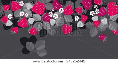 Red Garden Berries In Header Design Element. Simple Naive Rustic Style Strawberry For Header, Card,