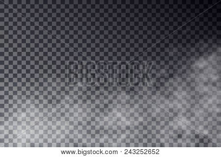 Vector Transparent Mist Effect Isolated On Dark Background. Smoke Or Fog Go Up Effect. White Cloudin
