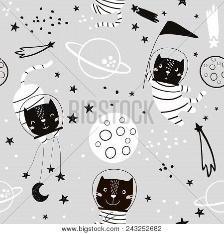 Seamless Childish Pattern With Cat Astonauts In The Spase. Trendy Black And White Style. Creative Sc