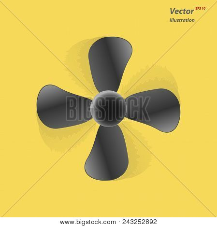 The Fan Icon. Ventilator, Blower, Propeller Symbol Isolated On Yellow Background. Flat Vector Illust