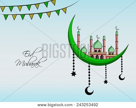 Illustration Of Moon, Mosque, Cloud And Banner With Eid Mubarak Text On The Occasion Of Muslim Festi