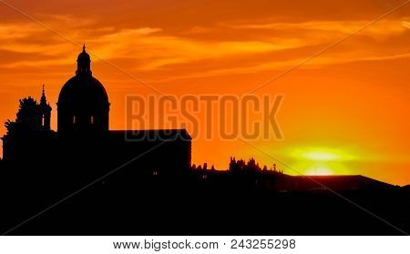 A Time Remembered: Italian Sunset Over The River In Florence, Italy With Silhouetted Architecture