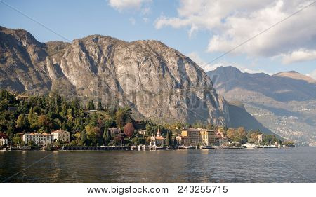 Cadenabbia Community on Como Lake, Italy. Panoramic View of Shoreline with Old Houses.