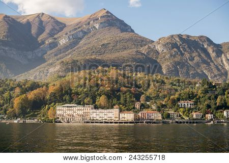 Como Lake, Italy. Panoramic View of Shoreline with Old Houses.