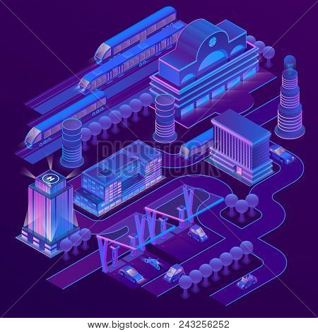 Vector 3d Isometric City In Ultra Violet Colors With Modern Buildings, Skyscrapers, Railway Station