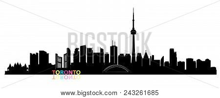 Canada City Skyline. Toronto Landmarks Cityscape View. Travel  Background. Tourism Concept With Mode