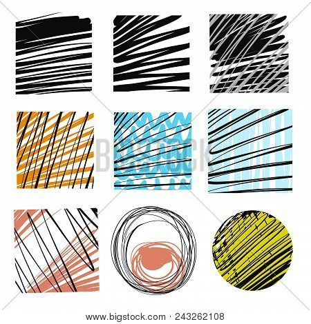 Set Of Hand-drawn Marker Lines. Two Color Contrast Vector Drawings.