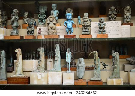 CAIRO, EGYPT - JANUARY 02 2016 : Tutankhamen's artifacts in Egyptian Museum in Cairo.