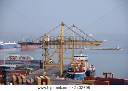 shipping industry cargo ship and containers at the port of piraeus athens greece no visible logos on containers poster
