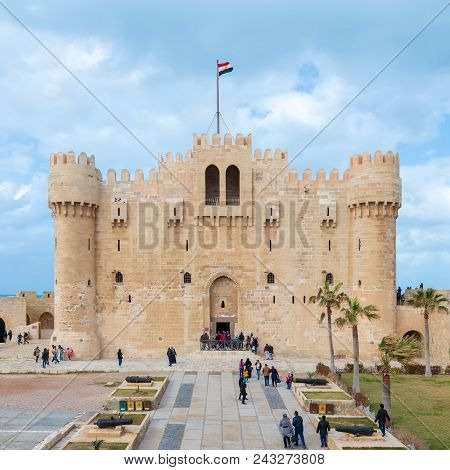 Alexandria, Egypt - January 25, 2018: Citadel Of Qaitbay, A 15th Century Defensive Fortress Located