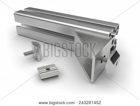 Aluminum Profile Accessories Isolated On White. 3d Rendering