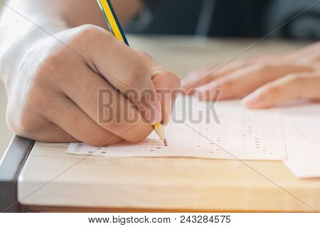 Education Test Concept : Man Hands High School, University Student Holding Pencil For Testing Exams