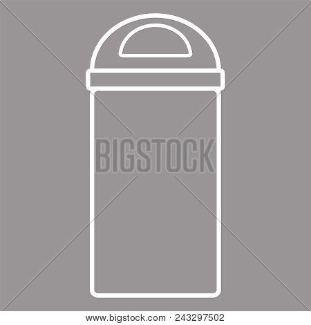 Garbage Icon. Waste Bin Icon. Flat Design, White Linear Styles. Wastebasket. Container Bin Mixed Was