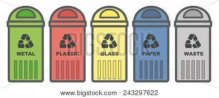 Set Garbage Icon. Waste, Five Colorful Recycle Bin Icon Melal, Glass, Paper, Plastic. Flat Design. W