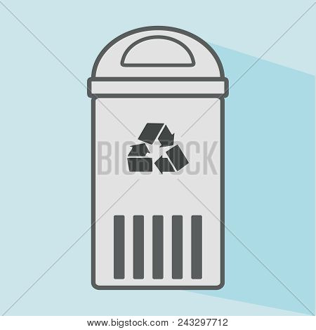Garbage Icon. Waste, Recycle Bin Icon. Flat Design, Linear Styles. Wastebasket. Container Bin Manage