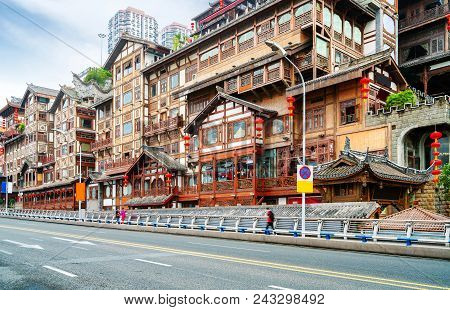 Located In The Classical Building On The Edge Of The Yangtze River: Hongya Cave. Chongqing, China.