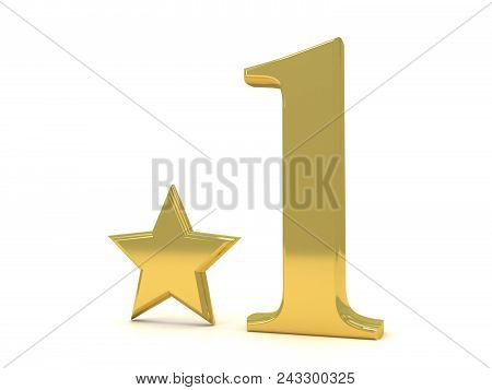 3d Gold Number 1 And Star. One Number And Star In White Background