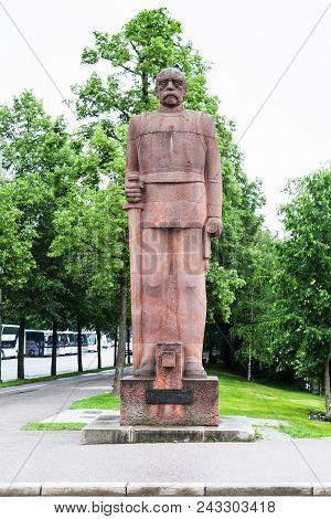 Munich, Germany - May 24, 2018: Monument Of Former German Chancellor Prince Otto Furst Von Bismarck